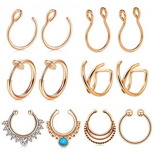 Vcmart 12PCS Stainless Steel Ear Cuff Ear Clips Non Piercing Cartilage Earrings Fake Nose Lip Suptum Ring Set for Men Women, 8 Various Styles Faux Body Piercing Jewelry
