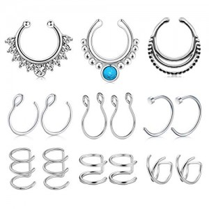 Vcmart 15PCS Stainless Steel Ear Cuff Ear Clips Non Piercing Cartilage Earrings Fake Nose Lip Suptum Ring Set for Men Women, 9 Various Styles Faux Body Piercing Jewelry