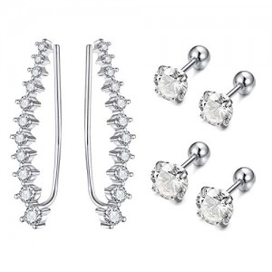 Vcmart Ear Cuffs Climber Earrings Crawler Earring Studs with 11 Round Cut White CZ for Pierced Ear for Women Girls