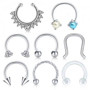 VCMART 8pcs 16G Surgical Steel Clear Cubic Zirconia Nose Hoop Septum Ring 8mm Horseshoe Ear Daith Tragus Clicker Rings Retainer Body Piercing Jewelry
