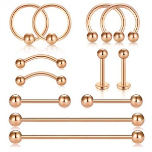Vcmart Septum Hoop Rings Surgical Steel Industrial Barbell Cartilage Earring Body Piercing Jewelry for Women Men Nose Lip Tragus Helix Ear Eyebrow Labret Studs Nipple Barbell 12 Pieces