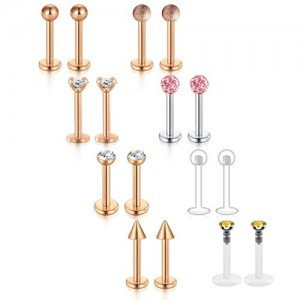 VCMART 16Pcs 16G Lip Rings 316L Stainless Steel 3mm CZ Inlaid Labret Monroe Studs Piercing 8mm Bar Length