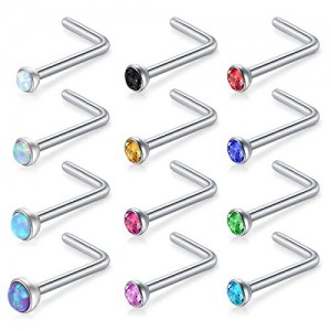 Vcmart 12pcs 18G 20G 22G 316L Surgical Steel 1.5mm 2mm 2.5mm 3mm Jeweled Opal CZ Nose L-Shaped Rings Studs Ring Body Piercing Jewelry