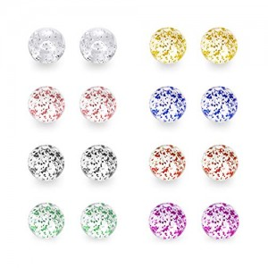 Vcmart Mix Color Glitter UV Acrylic Replacement Balls Retainer Piercing Barbell Parts 14G 5mm 8mm Glitter Balls for Women Men