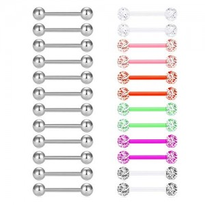 Vcmart 24Pcs Nipple Ring Tongue Ring 14G Stainless Steel Clear Flexible Acrylic Tongue Barbell Bar Nipplerings Body Piercing Jewelry 12-18mm
