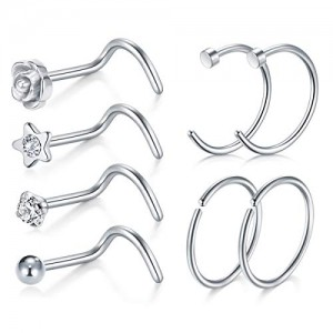 Vcmart 20 Gauge Surgical Steel Nose Stud Ring Twister Screw Studs Nose Rings Hoop Septum Rings Piercing Jewelry Set