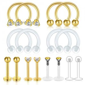 Vcmart 16Pcs 16G Cartilage Tragus Earring Stud Forward-Helix Earrings Lip Labret Medusa Monroe Piercing Ring