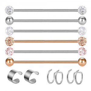 Vcmart 14G Stainless Steel Industrial Barbell Earrings for Women Men Cartilage Helix Rings Piercing Jewelry 8 Pieces 1 1/4 Inch (32mm)