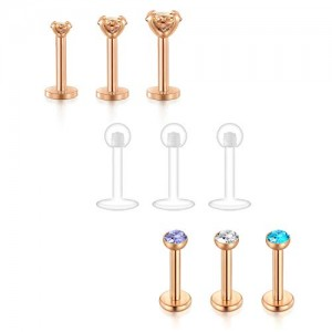 Vcmart Forward Helix Earring 16G 6mm 8mm Tragus Cartilage Earring Stud Internally Threaded Body Piercing Jewelry