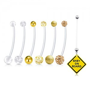 Vcmart 7pcs Mix Style 38mm Pregnancy Sport Maternity Belly Button Rings Flexible Bioplast Navel Belly Rings Retainer