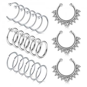 Vcmart 16G Stainless Steel Fake Septum Rings Nose Hoop Piercing Clicker Ring Septum Retainer 10mm Earring Hoop Piercing Jewelry