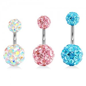 Vcmart 14G Stainless Steel Belly Button Rings for Women Girls 6mm 8mm 10mm Belly Navel Barbell Piercing Jewelry