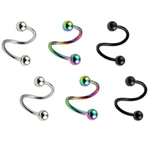 Vcmart 16G Spiral Twisted Barbell 8mm Lobe Cartilage Helix Tragus Earrings Labret Lip Piercing Rings