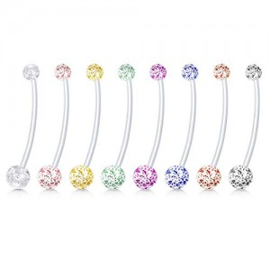 Vcmart 8-10pcs Pregnancy Maternity Belly Button Rings Flexible Bioplast Long Bar Navel Rings Retainer Body Piercing 14G 11/2 Inch Length