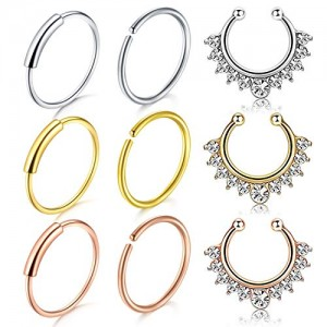 Vcmart 9Pcs 316L Stainless Steel Septum Piercing Nose Rings Hoop Cartilage Tragus Earring Body Piercing Jewelry 8mm 10mm 16G Inner