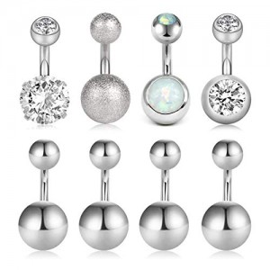 Vcmart 14G Belly Button Rings CZ Opal Navel Rings Stainless Steel Body Piercing for Women Girls