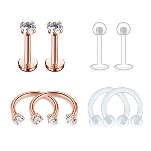 Vcmart Cartilage Earring Stud Forward-Helix Earrings-Internal Threaded Labret Lip Medusa Monroe Piercing Ring 16G