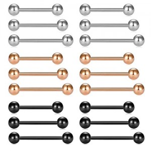 Vcmart Piercing Barbell Tongue Rings Nipplerings 14g Straight Bar Surgical Stainless Steel Body Jewelry for Women Men Rose Gold Black 9/16' 5/8' 3/4' 18pcs
