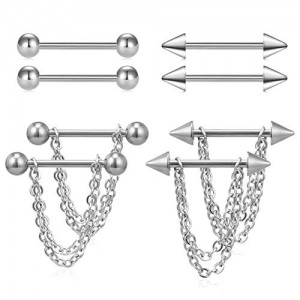 Vcmart Nipple Rings Tongue Chain Dangle Nipplerings Surgical Steel Piercing Barbell Kit for Women Men Arrow Ball 14G 5/8' 16mm Bar