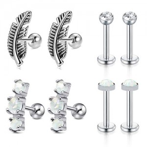 Vcmart 16 Gauge 4 Pairs Stainless Steel Cartilage Stud Earring Forward Helix Earring for Women Girls CZ Opal Tragus Daith Piercing Jewelry Set