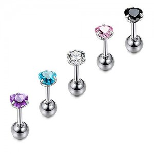 Vcmart 16G Stainless Steel CZ Crystal Ferido Ball Labret Monroe Lip Rings Cartilage Tragus Helix Earring Barbell Stud Piercing Jewelry 6mm 1/4 Inch