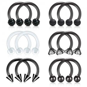 Vcmart 16G Nose Septum Rings Hoop Surgical Steel Horseshoe Circular Barbell Nostril Lip Ring Helix Cartilage Tragus Earring Lobe Barbell 12pcs