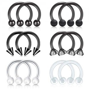 Vcmart Nose Septum Rings Hoop 16G Surgical Steel Horseshoe Barbell Lip Rings Helix Cartilage Tragus Rook Daith Earring Barbell Piercing