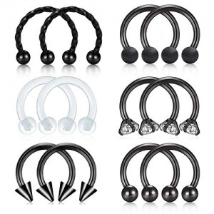 Vcmart 16G Surgical Steel Horseshoe Nose Septum Piercing Lip Rings Lobe Tragus Earring Clear Retainer Circular Barbell Helix Daith Hoop Body Jewelry Kit for Women Men