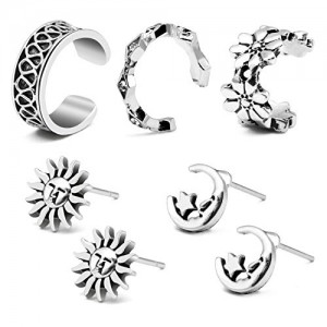 Vcmart Boho Crawler Cuff Bar Earrings Sets Moon Star Sun Stud Vine Tribal Charm Flower Hoop Earring Vintage Punk Style Jewelry for Girl Women