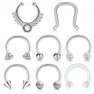 Vcmart Fake Nose Rings Hoop Kit Faux Septum Piercing Jewelry Clear Horseshoe Barbell 16G Surgical Steel Helix Tragus Lobe Cartilage Earrings 5/16' 8mm