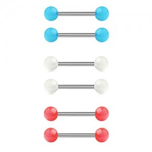 Vcmart 14G Glow in The Dark Acrylic Balls Stainless Steel Straight Bar Tongue Nipple Rings Piercing Jewelry 14mm 16mm