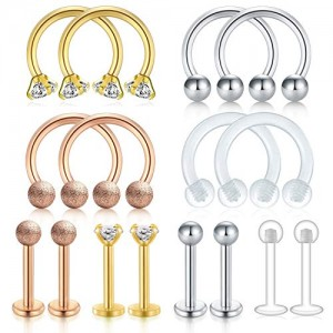 Vcmart Surgical Steel Lip Rings Studs Nose Septum Rings Piercing Horseshoe Hoop Clear Retainer CZ Labret Helix Daith Lobe Tragus Earring Piercing Jewelry Kit for Women Men 16G