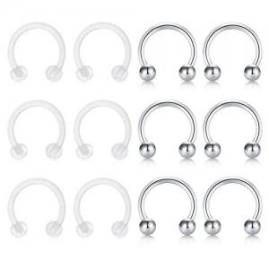 Vcmart 16G Nose Septum Rings Hoop Surgical Steel Clear Retainer Horseshoe Circular Barbell Nostril Lip Helix Cartilage Tragus Lobe Earrings Piercing Barbell 12pcs