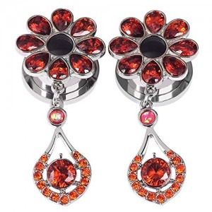 Vcmart Stainless Steel Elegant Red CZ Flower Ear Tunnels Dangle Gauges Piercings Jewelry 2g 0g 00g 1/2' 9/16' 5/8'