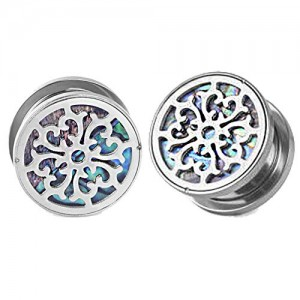Vcmart Ear Plugs Tunnels Gauge Ear Stretcher Piercing Stainless-Steel Ear Tunnels Hollow Steel Decorate Shell Bottom