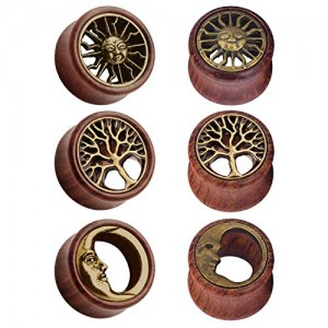Vcmart 3 Pairs of Ear Tunnels Brass Tree of Life  Tribal Sun  Moon Natural Wooden Brown Flesh Tunnels Double Flared Ear Stretcher Saddle Plug Gauge 8-20mm for Women and Men