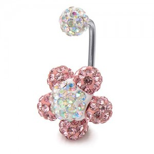 Vcmart 14G Flower Belly Button Rings Stainless Steel Crystal Ball Navel Rings for Women Girls