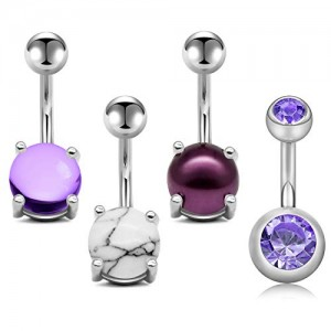 Vcmart 14G Belly Button Rings Stainless Steel 10mm Belly Ring Navel Rings Purple Strass/Crystal/Marble/Pearl Ball