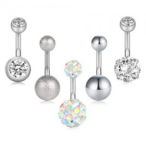 Vcmart Belly Button Rings Surgical Stainless Steel 14G CZ Navel Belly Rings 3/8' 10mm Piercing Barbell Body Jewelry