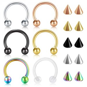 Vcmart 16G Surgical Steel Nose Septum Horseshoe Hoop Earring Eyebrow Tragus Lip Piercing Ring with Spike Balls Piercing Jewelry Set