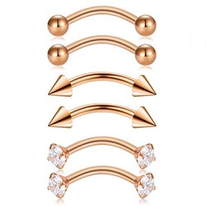 Vcmart 6pcs Stainless Steel Rook Daith Earrings Belly Lip Eyebrow Rings Cartilage Tragus Ear Studs Cubic Zirconia Barbell Body Piercing 10mm (3/8')