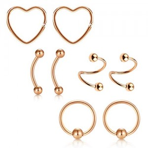 Vcmart Lip Nose Septum Rings Hoop 16g Surgical Steel Eyebrow Rings Spiral Twisted Heart Ear Cartilage Helix Lobe Daith Rook Navel Piercing Earrings Kit