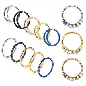 Vcmart 20G Fake Nose Rings Hoop Stainless Steel Faux Fake Septum Lip Cartilage Hinged Cliker No-Piercing Nose Ear Rings