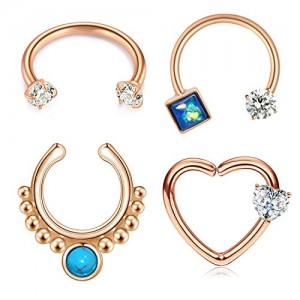 Vcmart 16G Stainless Steel Septum Rings Piercing Heart Horseshoe Daith Cartilage Rook Earrings Horseshoe Hoop Earring Piercing Jewelry