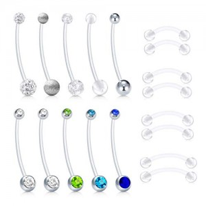 Vcmart Jeweled CZ 38mm Pregnancy Belly Button Rings Maternity Sports Belly Rings 14G 12-18mm Flexible Bioflex Clear Belly Navel Piercing Bar Retainer for Women