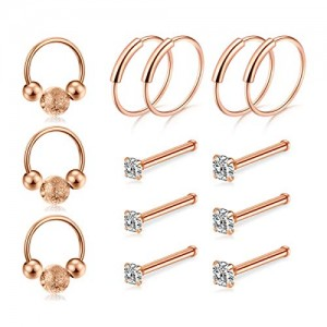 Vcmart 20G Nose Ring Hoop-Nose Rings-Studs Piercings Hoops Jewelry Stainless Steel Nostril Ring for Women Men 6pcs