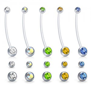 Vcmart Jeweled CZ Belly Button Rings 14G Pregnancy Sport Maternity Belly Ring Flexible Bioplast Piercing Retainer W Replacement Ball 1 1/2Inch (38mm)
