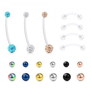 Vcmart Jeweled CZ 38mm Pregnancy Belly Button Rings Maternity Sports Belly Rings 14G 12-18mm Flexible Bioflex Clear Belly Navel Piercing Bar Retainer for Women with Replacement Balls
