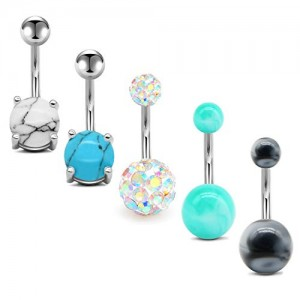 Vcmart Belly Button Rings 14G Surgical Stainless Steel Navel Barbell Pack for Women Girls Piercing Rings Jewelry Belly Bar 3/8' 10mm