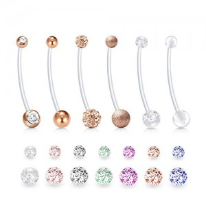 Vcmart 14G Pregnancy Belly Button Rings Maternity Sports Belly Rings Flexible Bioflex Long Clear Belly Bar with Replacement Balls for Women 38mm 1 1/2 inch